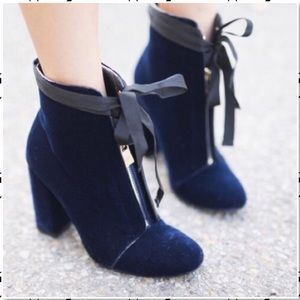 Zara Velvet Center Zipper Lace Up Ankle Bootie